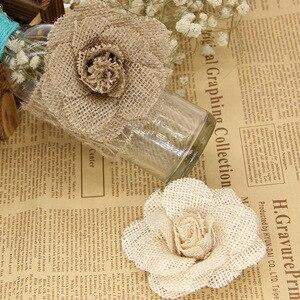 Image 5 - Xinaher 5Pcs 9Cm Handgemaakte Jute Hessische Jute Bloemen Rose Shabby Chic Wedding Decor Kerst Feestartikelen
