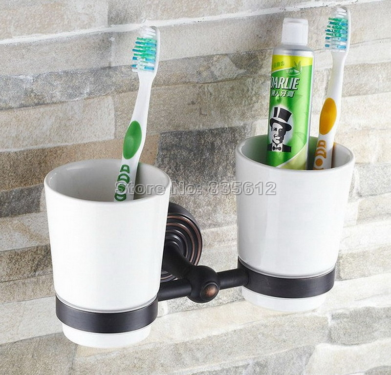 Black Oil Rubbed Brass Wall Mounted Toothbrush Holder with Two Ceramic Cups Wba188a new bullet head bobbin holder with ceramic tube tip protecting lines brass copper material