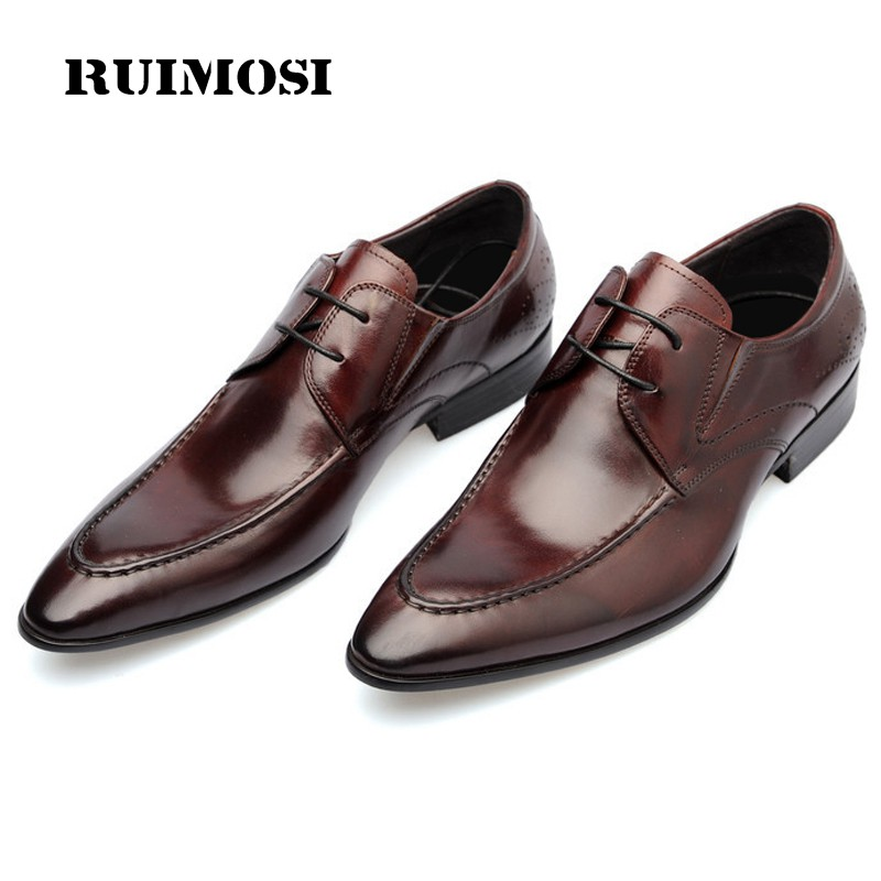 RUIMOSI Formal Brand Man Derby Dress Shoes Genuine Leather Italian Designer Oxfords Handmade Pointed Derby Men's Flats CA32