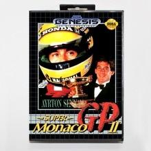 16 bit Sega MD game Cartridge with Retail box - Ayrton Senna's Super Monaco GP II game card for Megadrive Genesis system