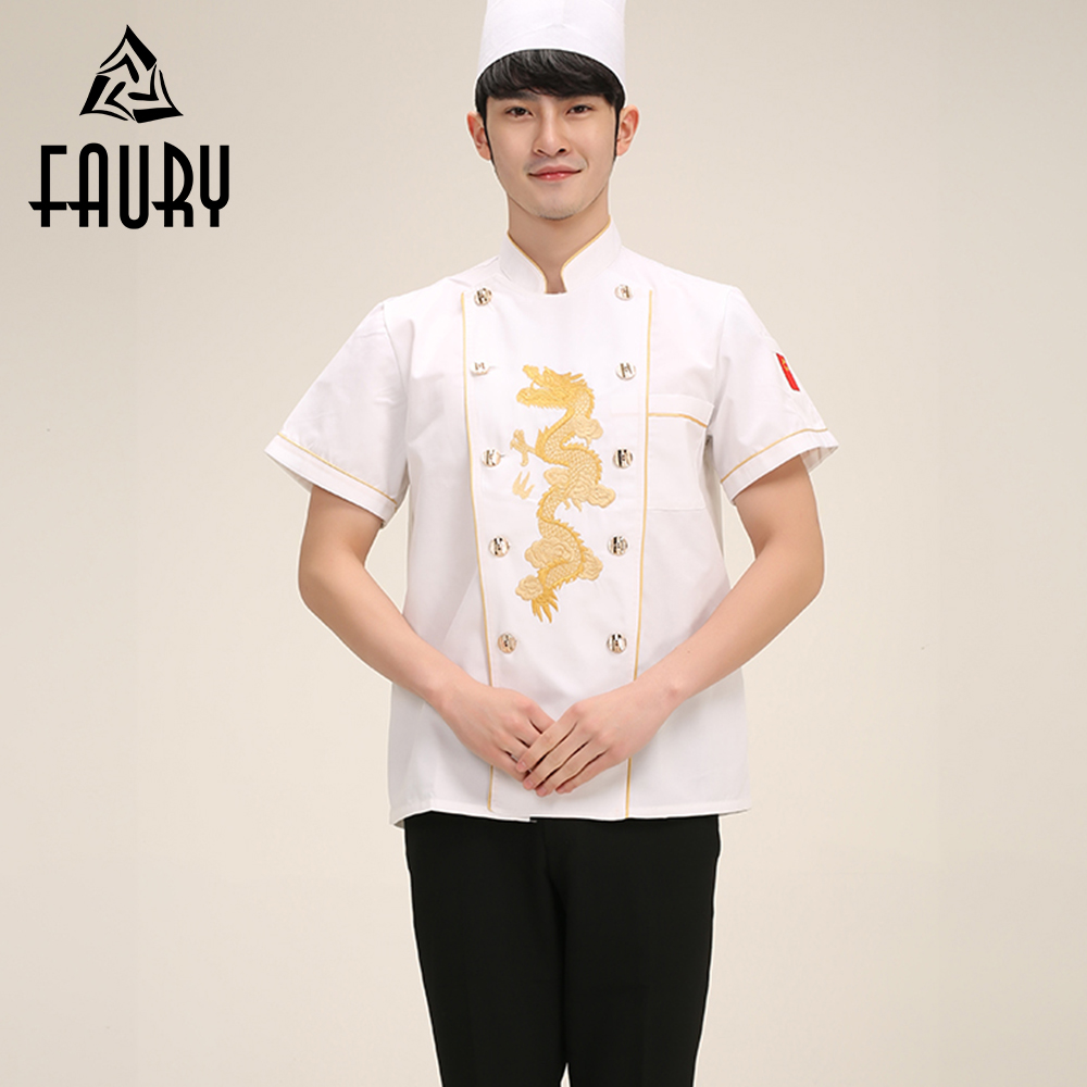 Men Embroidery Dragon Double-breasted Short Sleeve Chinese Style Kitchen Cooking Work Wear Chef Uniforms Casual T-shirts M-3XL