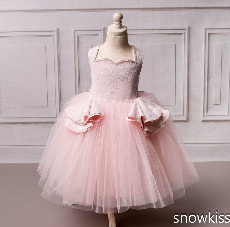 Beautiful Blush pink ball gown baby dress with lace appliques tulle sweetheart girl pageant dress with bow 1st birthday outfit