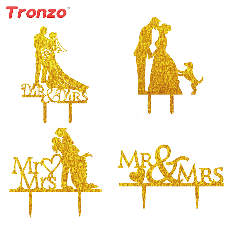 Tronzo Wedding Cake Topper Bride And Groom Glitter oro Mr & Mrs Toppers Wedding Decoration Toppers torta nuziale acrilico