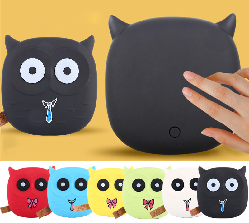 Cute Owl Cartoon Mobile Power Bank Charger USB External Battery 12000mAh Dual USB for Cellphone for Iphone 8 X Fast Charging