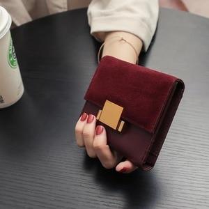 Image 4 - ארנק נשים עור פיצול לשפשף קטן ארנקי מיני ארנק מחזיק תעודת זהות ארנק ארנקי עור ירוק ליידי מצמד נקבה