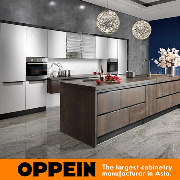 guangzhou oppein atacado armrio de cozinha modular armrio de cozinha laca branca laje grelhado op14 068