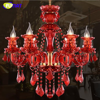 Red Crystal Chandelier Fashion Book Store Lampe E14 Modern Crystal Light Candle Home Lighting Cafe Retro