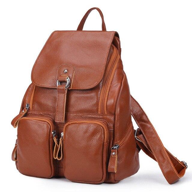 Женский рюкзак из натуральной кожи с карманами 1