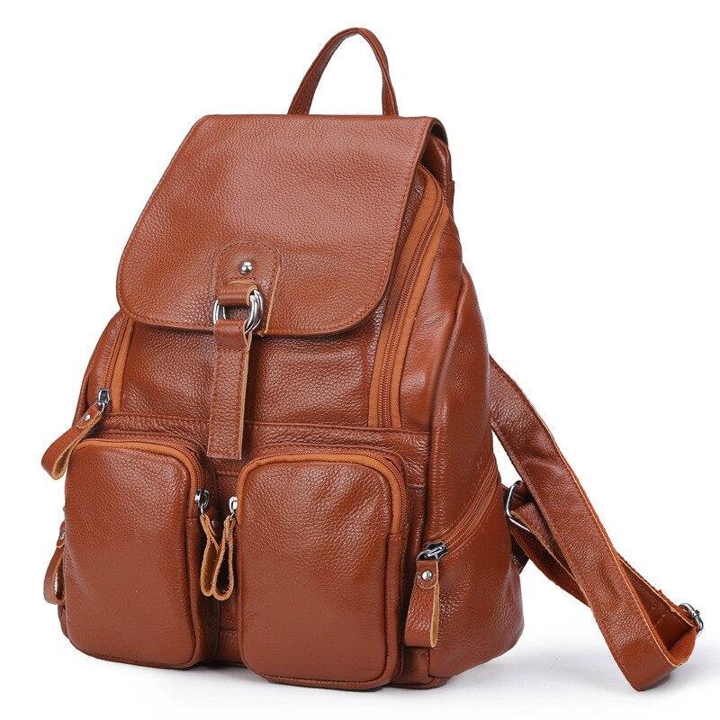 2017 femmes en cuir véritable sacs à dos dames mode sacs à dos pour adolescents filles sacs d'école en cuir véritable sacs de voyage Mochila