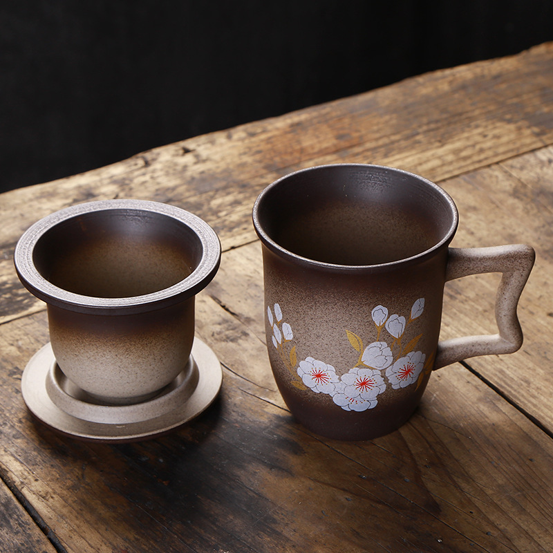 GLLead Black Pottery Restoring Ancient Ways Mug Creative Ceramic Flower Tea Mugs Office Teacup With Filter And Lid Sets in Mugs from Home Garden