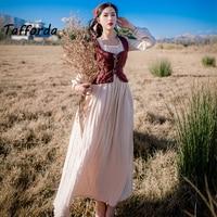 Tafforda Women Spring Autumn Slim Sexy Vintage Vest Dress Longe Sleeve Halter Vest Party Dresses Vestidos 2 pieces with Kerchief