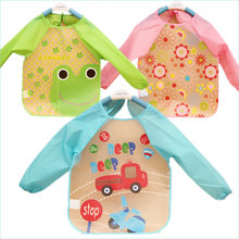 Cute Baby Bibs Waterproof Long Sleeve Apron Children Feeding Smock Bib Burp Clothes Soft Eat Toddler Baberos Bavoir Cloth(China)