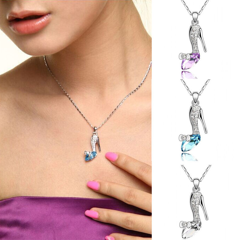 1 pc elegant ladies crystal rhinestone shoe glass slipper pendant 1 pc elegant ladies crystal rhinestone shoe glass slipper pendant necklace noble new high quality necklace gift fine jewelry in pendant necklaces from aloadofball Gallery