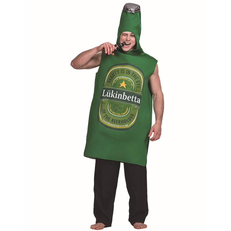 Mens green Beer Costume Party Beer bottle Emoji Clothing Role Play Fancy Dress Adult Onepiece Jumpsuit Carnival Party Costumes