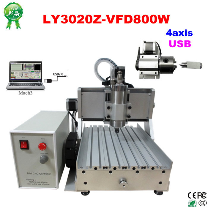 3020Z-VFD800W USB 4axis CNC Wood Carving Machine CNC Router Engraving Machine for wood aluminum drilling and milling cnc 5axis a aixs rotary axis t chuck type for cnc router cnc milling machine best quality