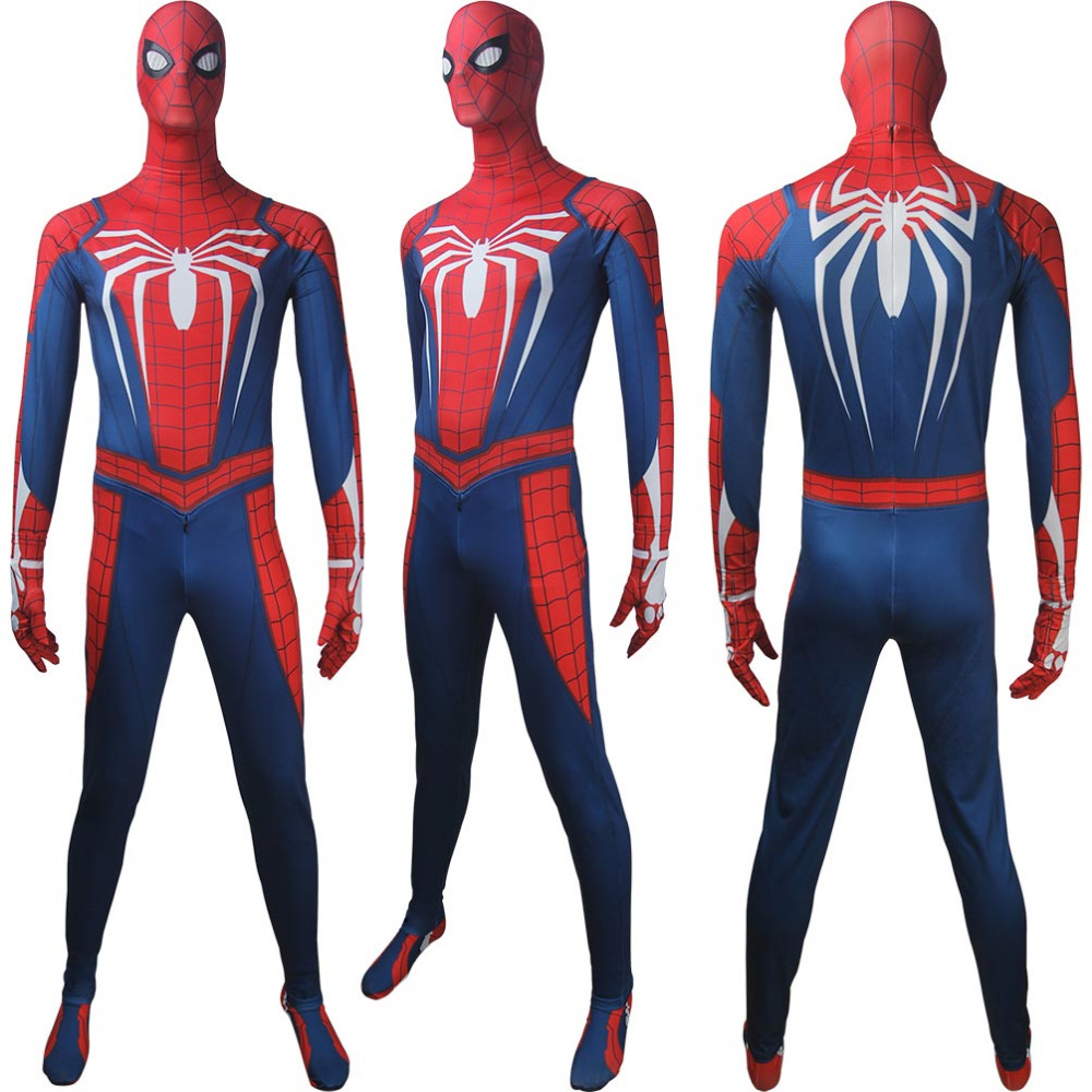 Men's Spider-Man 2018 video game superhero Spider-Man jumpsuit outwear cosplay halloween make-up costume xmas christmas gift
