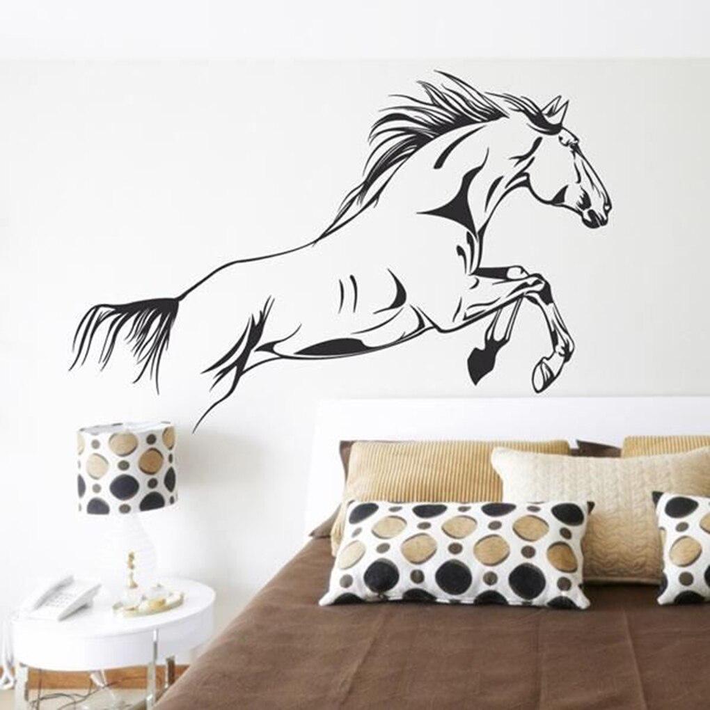PVC Black Running Horse Wall Sticker Removable Vinyl Art Mural Home Decor  Jump Horse Wallpaper(