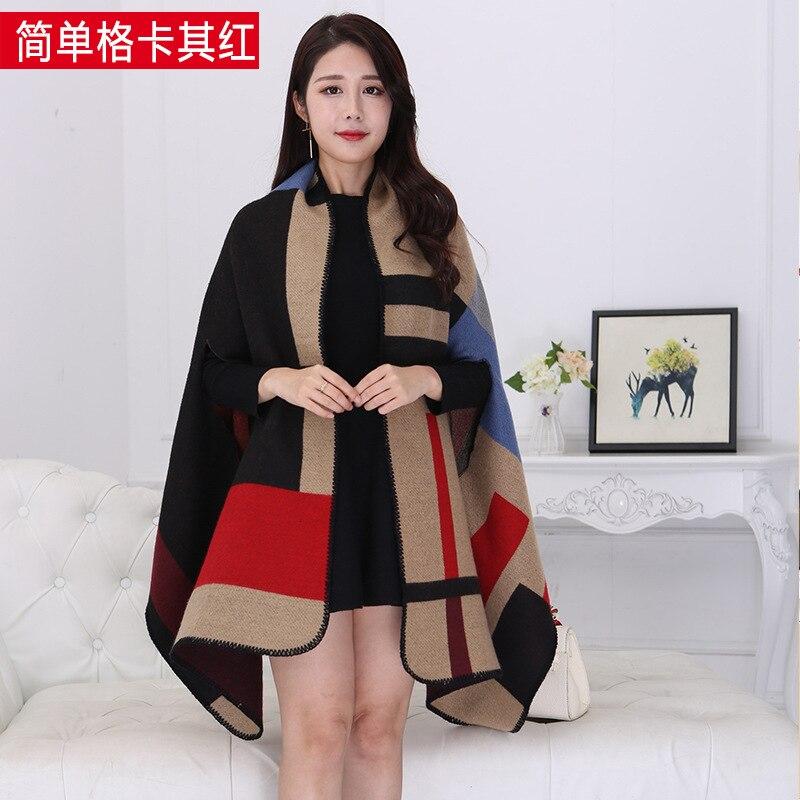 Новинка, роскошный брендовый женский зимний шарф, теплая шаль, женское Клетчатое одеяло, вязанное кашемировое пончо, накидки для женщин, echarpe - Цвет: Simple khaki red