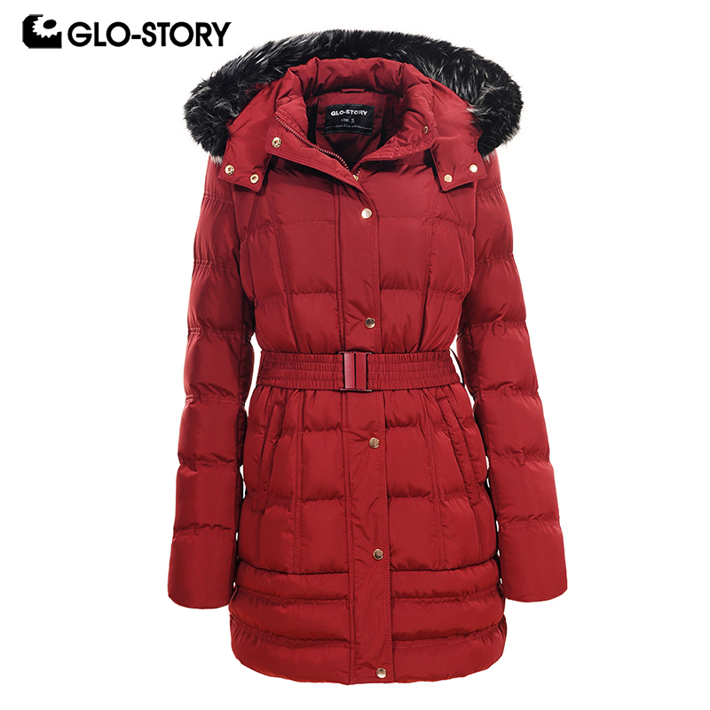 GLO-STORY Women 2018 New Winter Wool Liner Thick Warm   Parkas   Woman Long Padded Jackets and Coats with Faux Fur Hoodie and Belt