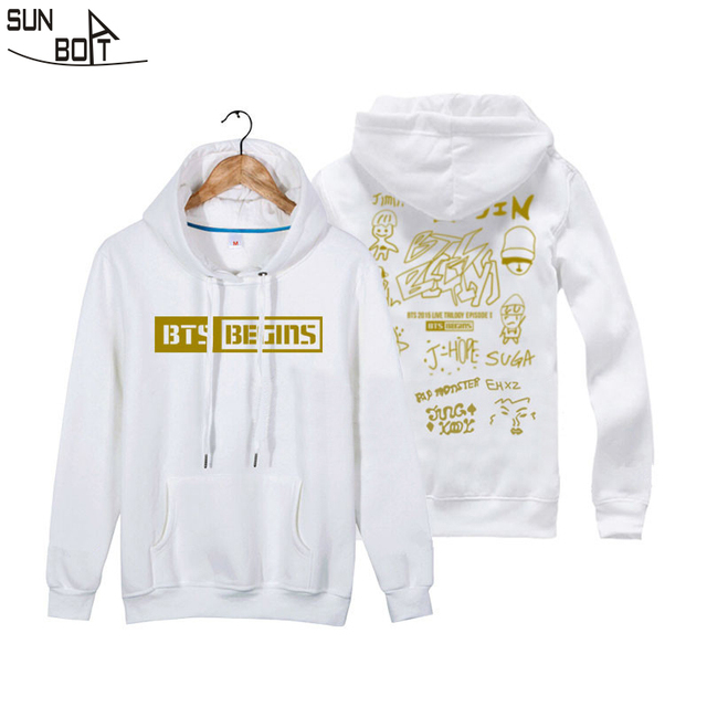 e592b869774495 Sunboat New Arrivals BTS Bulletproof Youth Group BEGINS Concert Men women  Loose Couple Hoodies Sweatshirts Cotton Long Sleeve