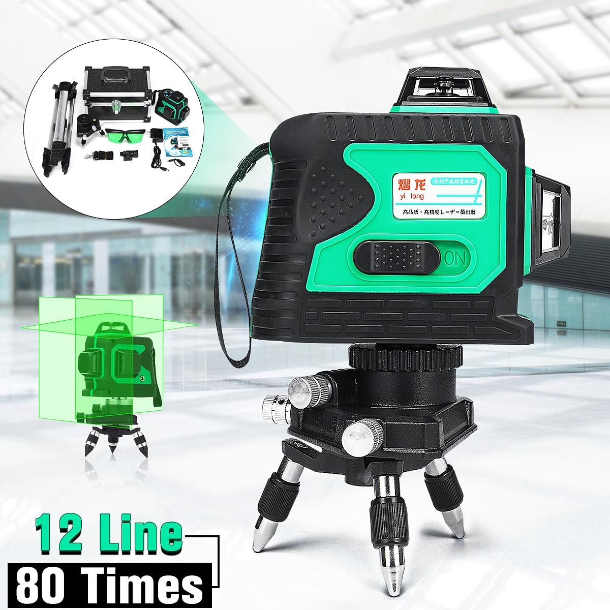 3D 12 Ligne 360 Degrés Laser avec Trépied Étanche Auto Auto Nivellement Vertical Horizontal Niveau Croix VERT Plumb-point fonction