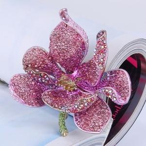 Image 4 - Tuliper брошь orchidea kobiety broszka kwiat Broche Femme przypinka do klapy wisiorek różowy kryształ Party biżuteria аксессуары Kpop moda