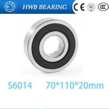 Free Shipping 1PCS S6014 2RS Stainless Steel Bearing 70x110x20 Miniature 6014 RS Ball Bearings S6014