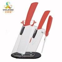 Home Kitchen Dining Bar Zirconia Kitchen Knife Set Ceramic Knife and Accessories Set 46'' Knife + Peeler+Scissor With Holder