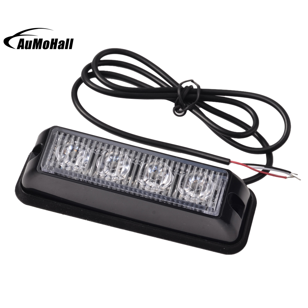 4 LED Emergency Vehicle Side Marker Grille Flash Strobe Light 4W SideMarker Lights Red White plug in electricity style corridor fire emergency light led safety export indicator sign vacuation passageway marker light