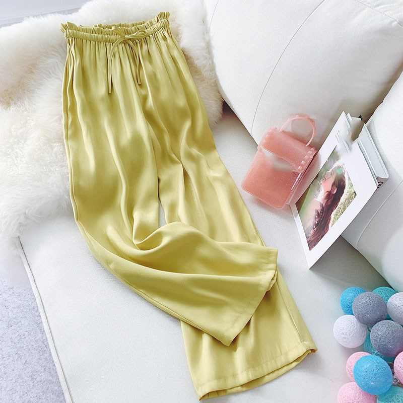 Summer Women's   Wide     Leg     Pants   Loose Lace Up Silk Satin Straight Beach   Pants   High Waist   Pants   Casual Trousers
