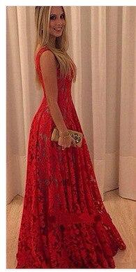 민소매 밝은 레이스 꽃 빨간 드레스 여성 드레스 레이스 긴 longuette 우아한 파티 드레스 정장 vestidos