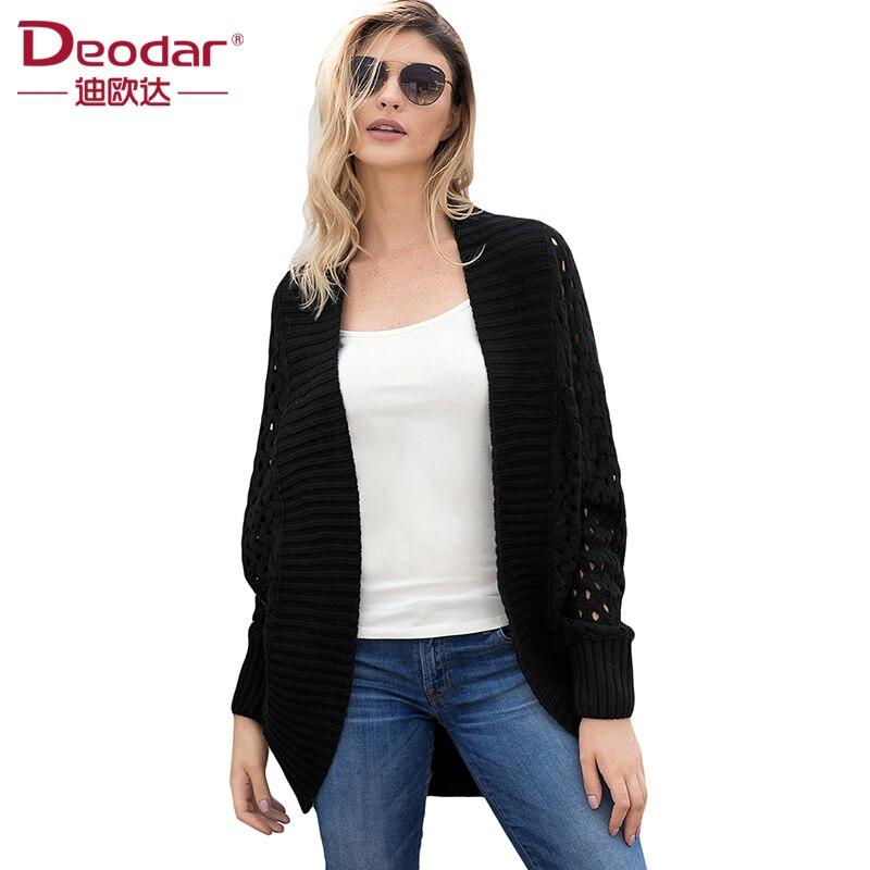 Déodar Automne Printemps Femmes Casual Manches Longues Cardigans Tricotés 2018 Nouveau Crochet Dames Pulls Mode Tricotado Cardigan
