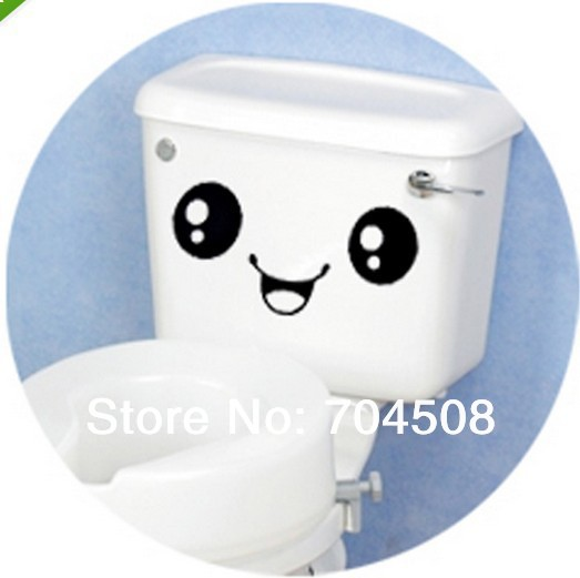 FD334 Smiling Face DIY Wall Bathroom Sticker Creative Home Decor Toilet Cartoon