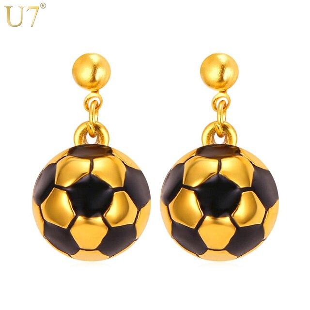 U7 New Soccer Ball Shaped Earrings Women Stainless Steel Gold Color  Wholesale Sport Enamel Jewelry Trendy Drop Earrings E787 68744865c