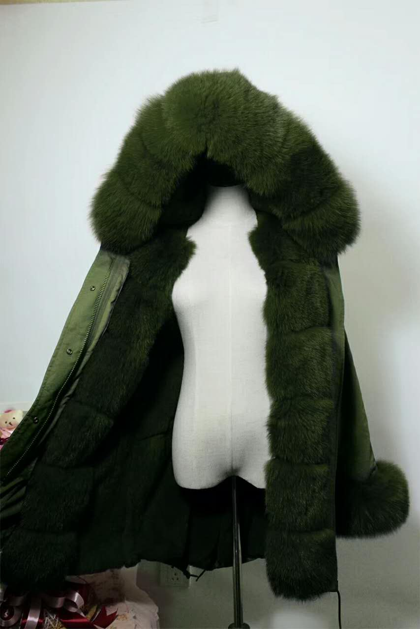 2017 winter new women's  fashion luxury fox fur collar  rex rabbit  lining coat nick garment 2017 winter new clothes to overcome the coat of women in the long reed rabbit hair fur fur coat fox raccoon fur collar