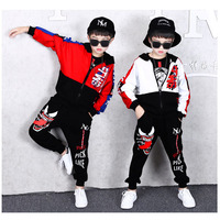 2Pcs Sports Suit for Boys Children's Suit Cotton Hooded Jackets + Harem Pants Boys Dance wear Tracksuit 6 8 10 12 13 14 Years