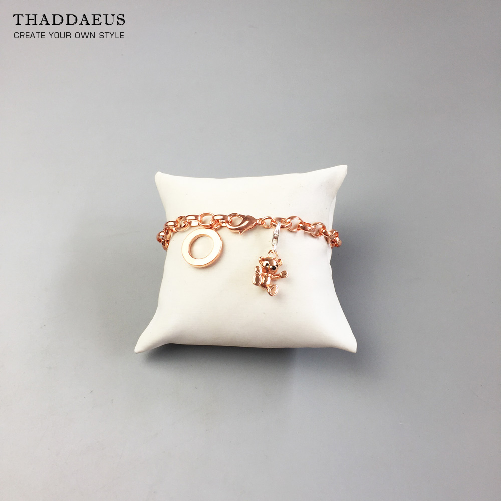 Link Chain Charm Bracelets,2017 Rose Gold Color Trendy Gift for Women,Thomas Style Glam Jewelry,Fashion Jewelry Acessories