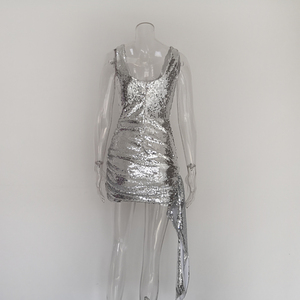Image 5 - JillPeriใหม่หรูหราBlingเลื่อมชุดมินิผู้หญิงทุกวันชุดShinnyลดลงสแควร์คอสั้นสวมใส่เซ็กซี่Party Dress