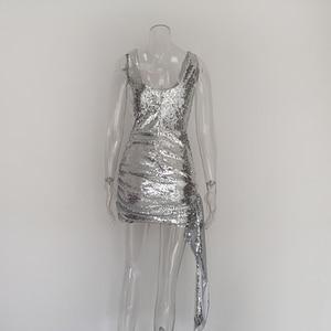 Image 5 - JillPeri nowa luksusowa Bling sukienka Mini z cekinami kobiet strój na co dzień Shinny spadł kwadratowy kołnierzyk krótka sukienka do klubu Sexy Party Dress