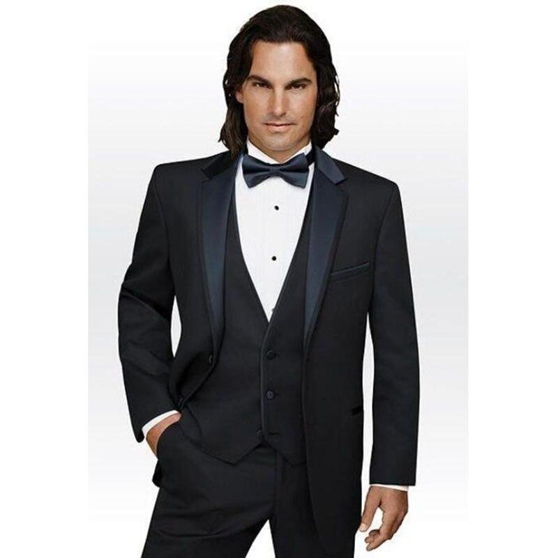 Vendita calda 2017 smoking dello Sposo abiti uomo Moda Nero di Affari  Personalizzato moda uomo vestito Da Sposa (jacket + Pants + vest + tie) in  Vendita ... f4b60c1769b