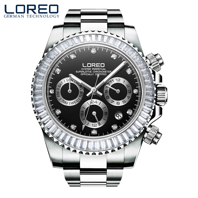LOREO Brand Sport luminous calendar 50m water resistant Luxury Stainless Steel Mechanical Wristwatch Mens Fashion Luxury Watch все цены