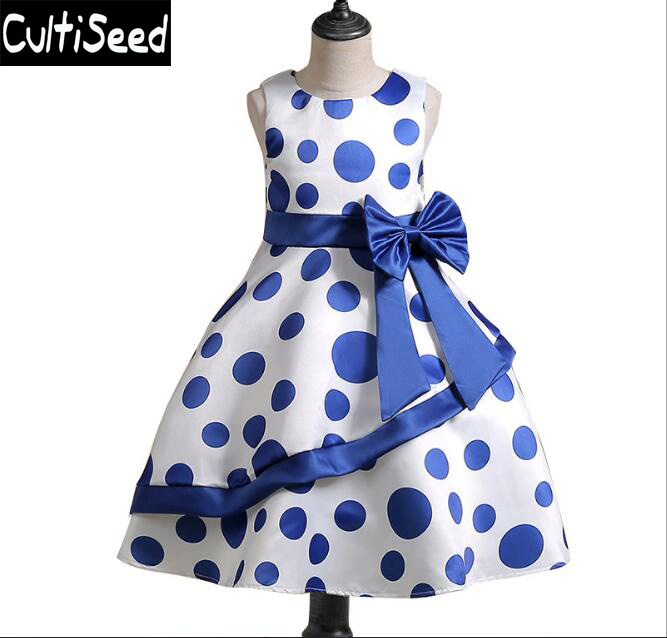 Girls Dot Printing Bow Dress 2018 Summer Newest Children O-neck Sleeveless Dot Princess Party Dresses Kids Dress Clothing ladybird appliques dress wholesale clothing for girls princess baby boutique o neck clothes children polka dot dresses 6pcs lot