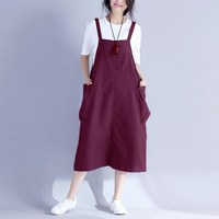 Women Spaghetti Strap Dress Autumn Summer Vestido Bib Overalls Sleeveless Dungarees Strappy Dress Casual Loose Baggy