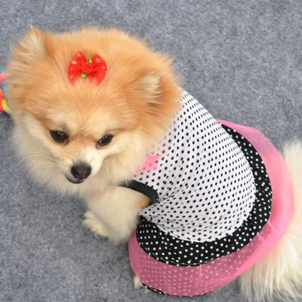 Hot Sales Pet Dog Polka Dot Tutu Dress Cute Puppy Lace Skirt Cat Silk Princess Party Clothes XS-L