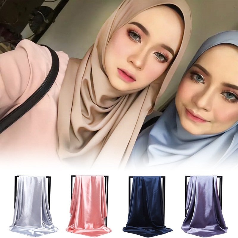 women bandana plain bubble chiffon muslim hijabs cloth   wrap   solid color shawls headband maxi   scarf   shawl   scarves   women 2019