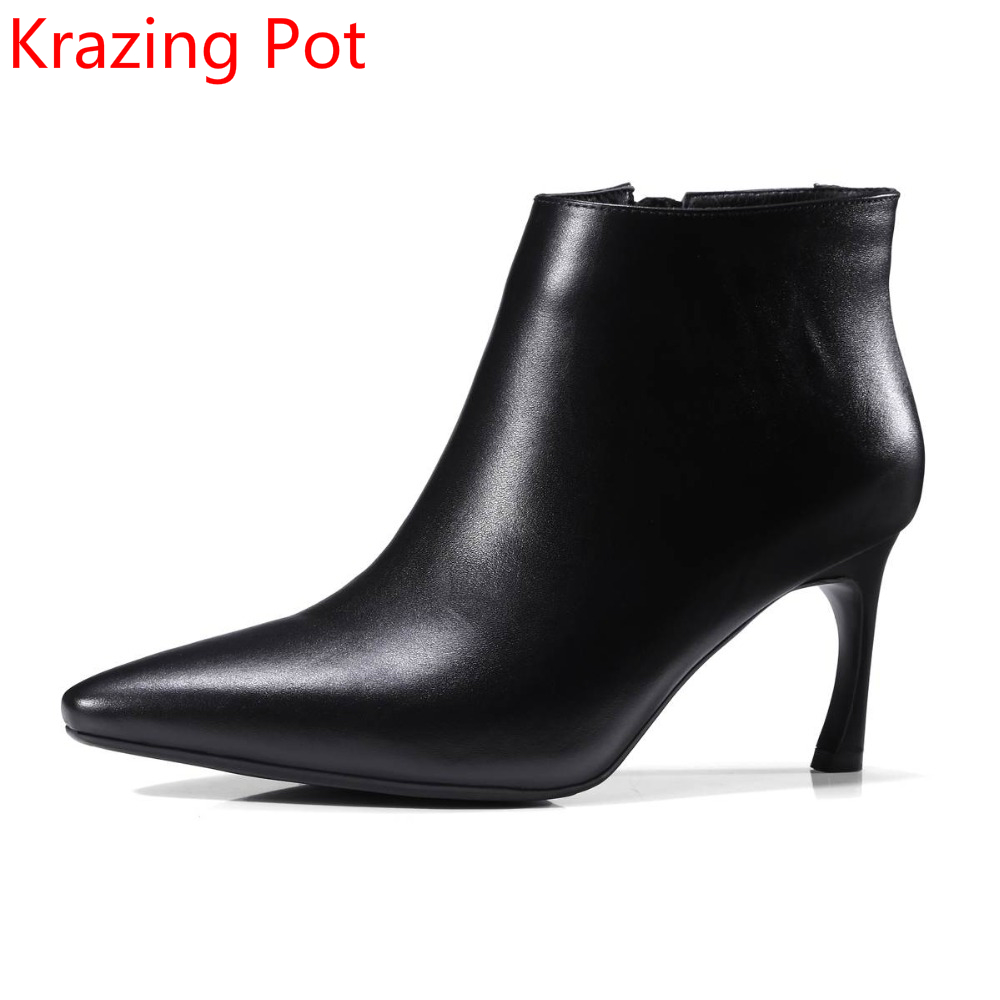 Shoes Woman Genuine Leather Pointed Toe Stiletto High Heels Zipper Winter Shoes Fashion Boots Women Ankle Boots Lady Shoes L78