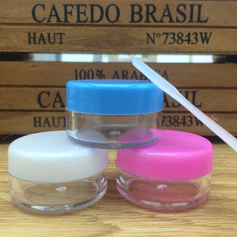 f32b55476e22 10pcs spray bottle Cream Jar Empty Plastic Cosmetic Container clear jar  Small Sample Makeup nail powder case with Mask spoon