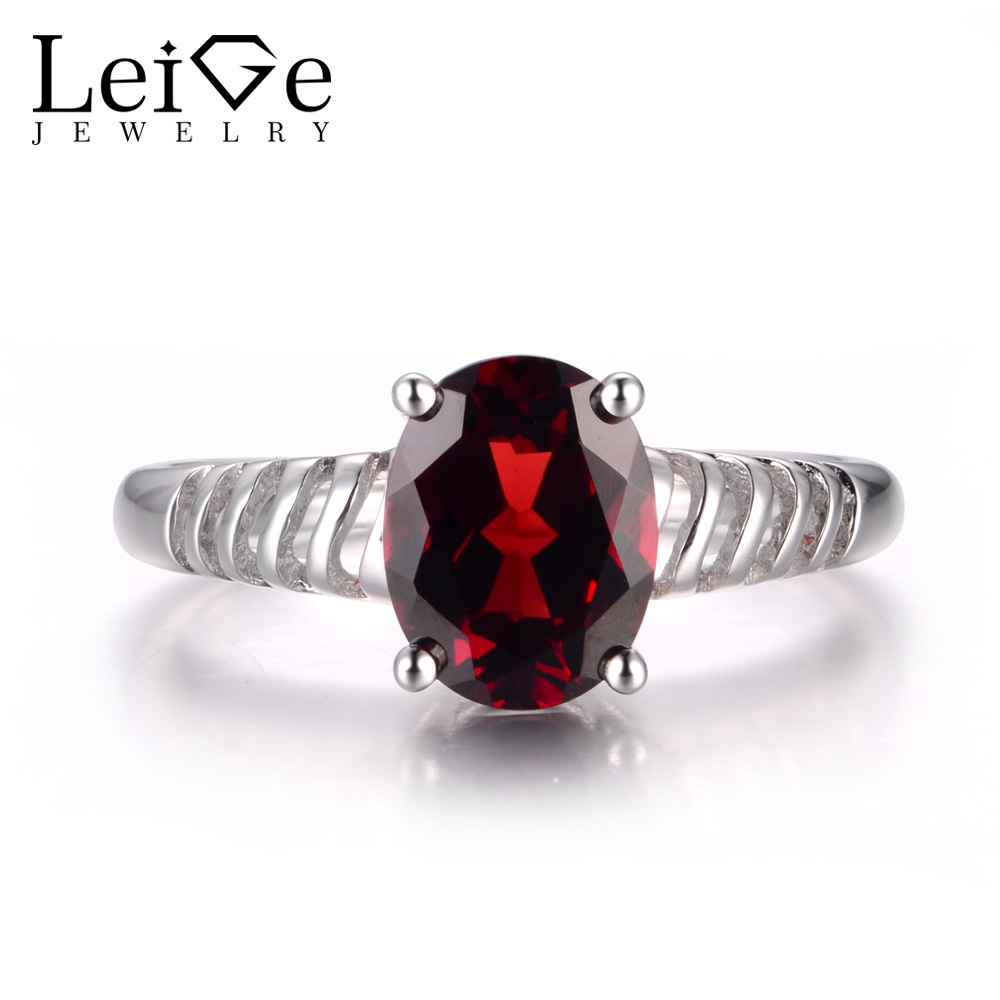 Leige Jewelry Natural Red Garnet Gemstone Oval Cut Prong Setting Wedding Rings January Birthstone 925 Sterling Silver
