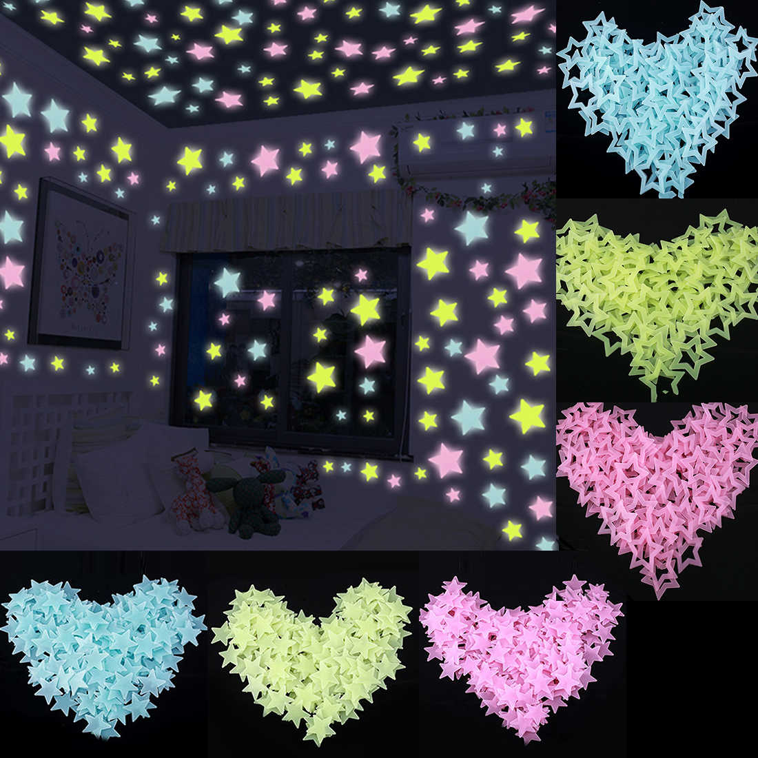 100PCS//Bag 3D Stars Glow in The Dark Wall Stickers Luminous Fluorescent Wall Stickers for Kids Baby Room Bedroom