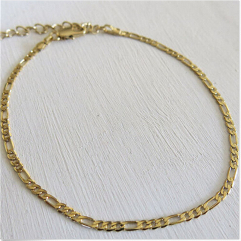 1Piece Nice Exquisite Trendy Figaro Chain Anklet Ankle Bracelet Gold Foot Jewlery For Both Men Women